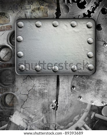Industrial grunge background, metal plate with rivets