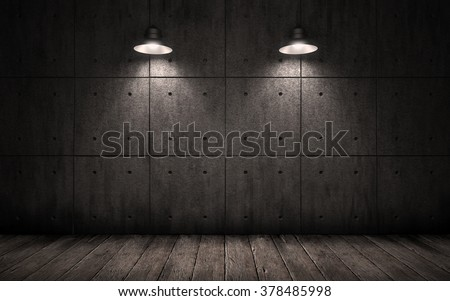 lighting for dark rooms. industrial grunge background with lighting ceiling lights dark room walls of concrete slabs and for rooms