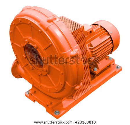 Industrial high pressure blower. Isolated on white background. - stock photo
