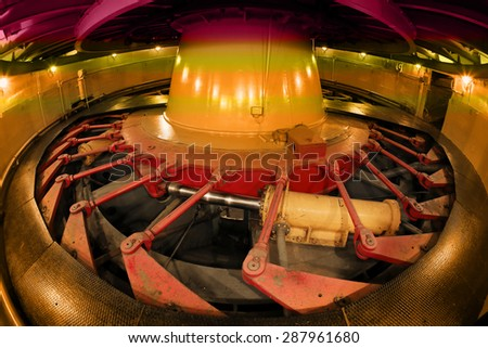 Industrial interior close-up generator stator, hydroelectric turbine hall