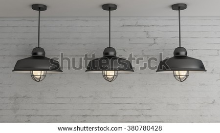 Industrial interior light design and decoration 3d Render images for your work.
