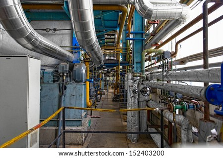 Industrial interior of a thermal power plant