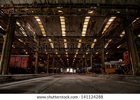 Industrial interior of a vehicle repair station - stock photo