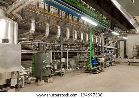 Industrial interior of old heat power plant. - stock photo
