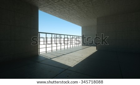 Industrial interior with concrete walls. 3d render