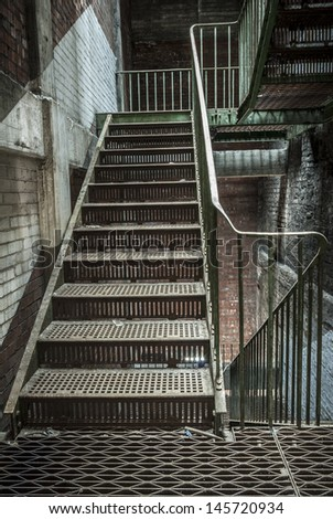 Industrial iron Stairway in abandoned building.