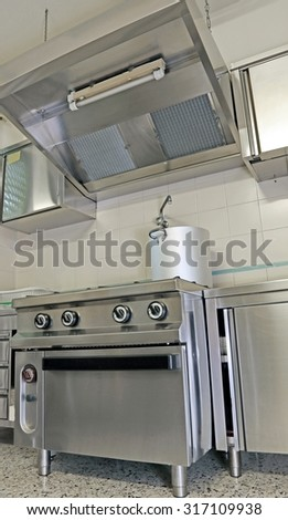 industrial kitchen for preparing food for many people