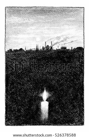 Industrial landscape and candle light. Silhouette of industrial area and a candle, conception art, charcoal drawing.