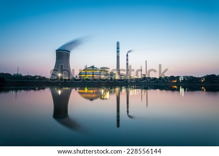 industrial landscape , coal power plant in nightfall  - stock photo