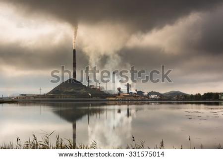 Industrial landscape in Karabash, Chelyabinsk region, Russia - stock photo