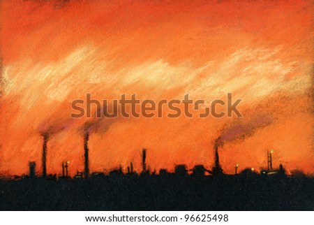 Industrial landscape. Sunset over industrial landscape. Pastel chalks on black paper.