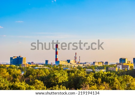 Industrial landscape with a thermal power plant