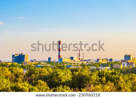 Industrial landscape with a thermal power plant - stock photo
