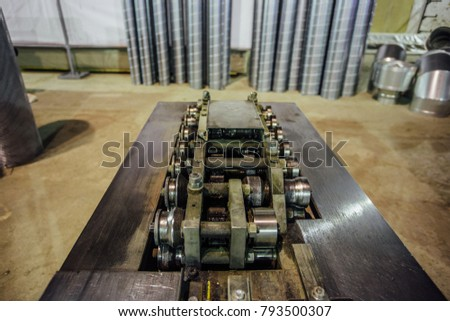 Industrial machine tool. Folding machine, close up view.