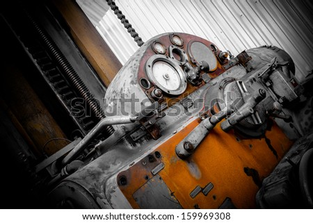 industrial machines in a old factory - stock photo