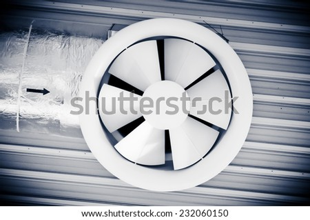 Industrial massive fan. Technological system - stock photo