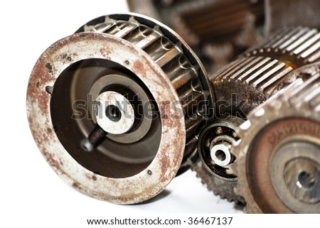 Industrial mechanical gears - stock photo