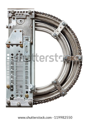 Industrial metal alphabet letter D - stock photo