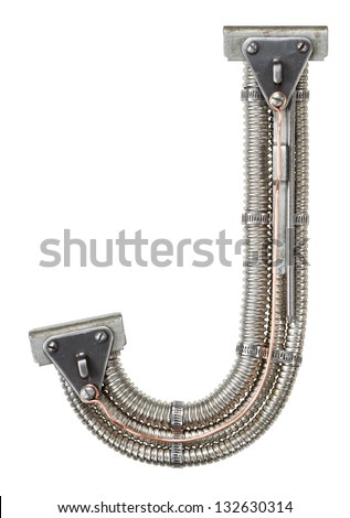 Industrial metal alphabet letter J - stock photo