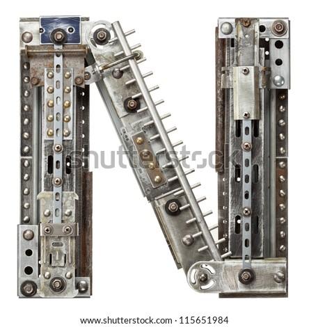 Industrial metal alphabet letter N - stock photo