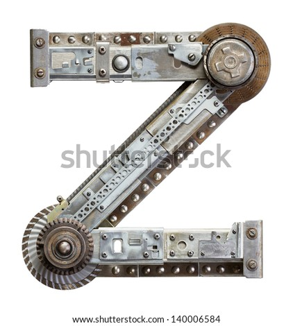 Industrial metal alphabet letter Z - stock photo