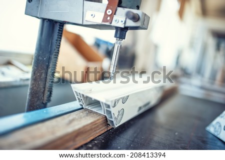 industrial metal drilling tool in factory. Metal industrial machines and manufacturing tools - stock photo