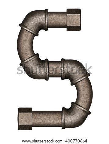 Industrial metal pipe alphabet letter S - stock photo
