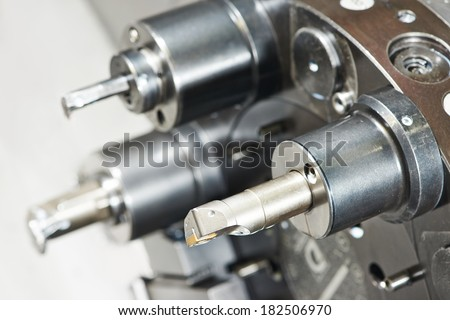 industrial metal work bore cutting tool on automated lathe