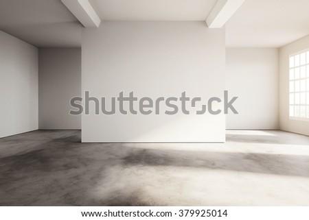 Industrial modern loft style exhibition interior. 3d rendering - stock photo