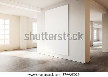 Industrial modern loft style interior with white poster mockup. 3d rendering