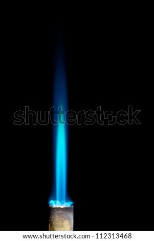 Industrial natural gas burner isolated on black background - stock photo