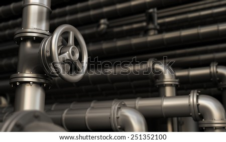 Industrial network with oil pipes - stock photo