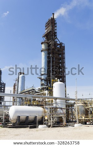 Industrial of refinery tower for making gasoline - stock photo