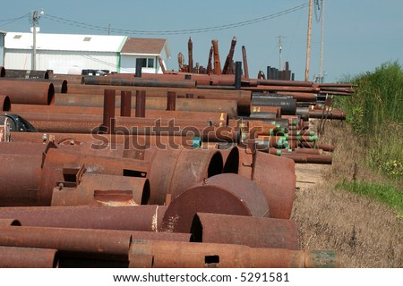 Industrial pipe is stored in racks