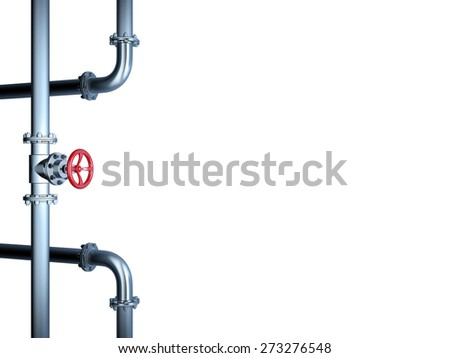 Industrial Pipe Valve isolated on White - stock photo