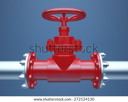 Industrial Pipe Valve on blue Background - stock photo