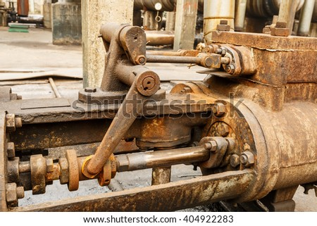 Industrial pipe valves Control system in the old steel mill