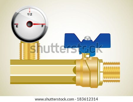 Industrial pipeline and Gas valve. - stock photo