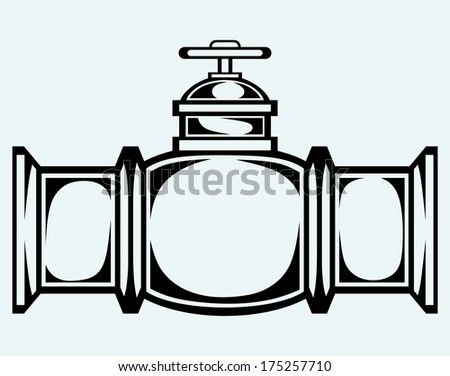 Industrial pipeline part. Image isolated on blue background. Raster version - stock photo