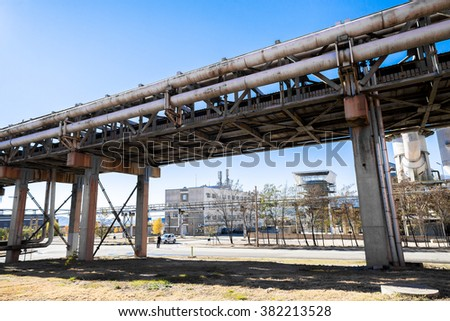 Industrial pipeline, part of the working process in an industrial smelter, foundry factory AURUBIS, Pirdop, Bulgaria, November 06, 2015. - stock photo