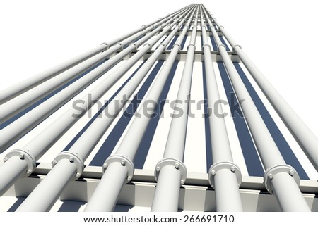 Industrial pipes stretching into distance. Isolated on white background - stock photo