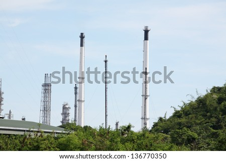industrial plant among green environment.