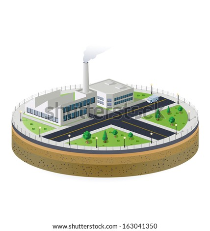 Industrial plant  in isometric view with the landscape - stock photo