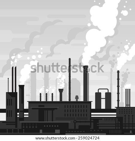 Industrial plant landscape flat style, factory buildings silhouette in gray colors, smoking pipes, environmental pollution, smog and fog in sky, ecology concept - stock photo