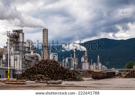 Industrial plant of a furniture factory with smoking chimneys on stormy sky - stock photo