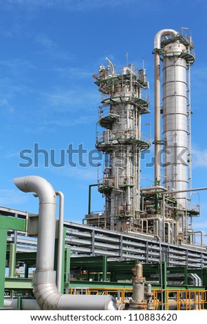 Industrial plant with blue sky , Eastern of Thailand August 2012