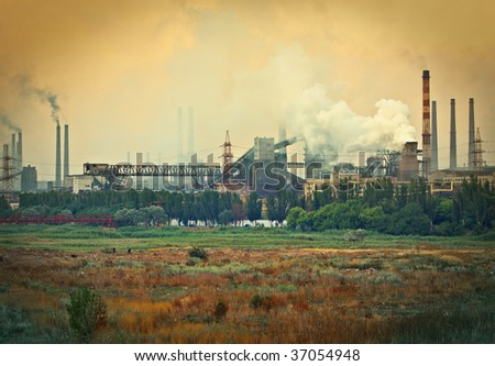 Industrial plant with smoke. environmental concept