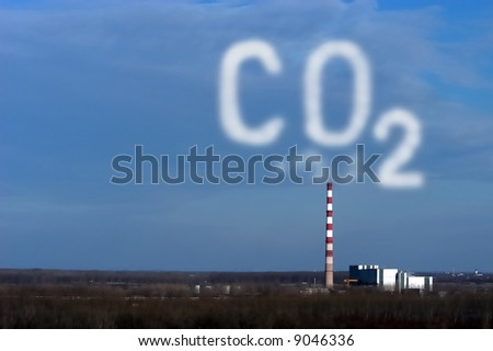 Industrial pollution, carbon dioxide cloud - stock photo