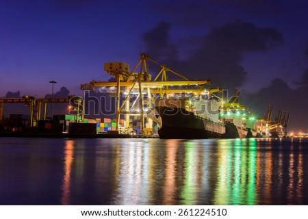 Industrial Port in dus - stock photo