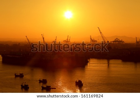 Industrial Port in sunset sunrise